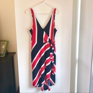 Red, White & Navy Striped Wrap Dress